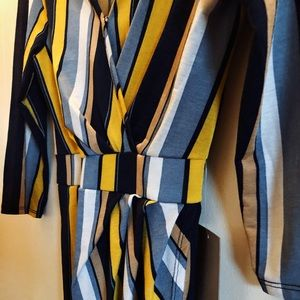NWT striped blue gold bodycon wrap dress